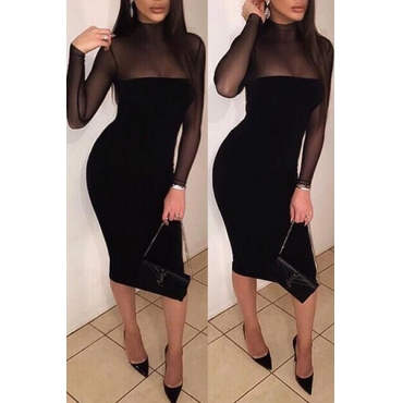 Sexy Mandarin Collar Long Sleeves Patchwork See-Through Black Cotton Sheath Knee Length Dress
