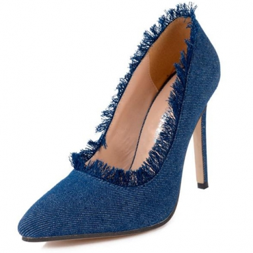 Stylish Pointed Closed Toe Stiletto Super High Heel Blue Denim Basic Pumps