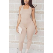 Leisure Round Neck Sleeveless Asymmetrical Khaki Qmilch One-piece Skinny Jumpsuits