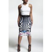 Stylish High Waist Zebra Printed Polyester Sheath Knee Length Skirts(Without Belt)