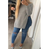 Fashion Round Neck Long Sleeves Side Slits Grey Blending Pullover