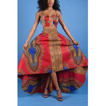 Ethnic Style Spaghetti Strap Sleeveless Totem Print Red Healthy Fabric Two-piece Skirt Set