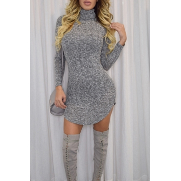 Contracted Style Round Neck Long Sleeves Grey Polyester Mini Dress