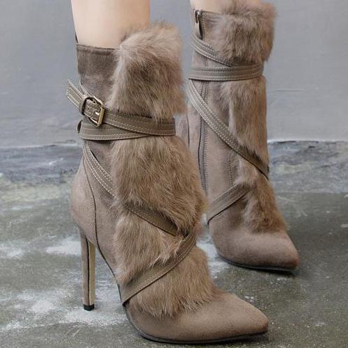 moda en punta de aguja de piel de diseño súper tacón alto de color caqui de gamuza botas de mitad de la pantorrilla