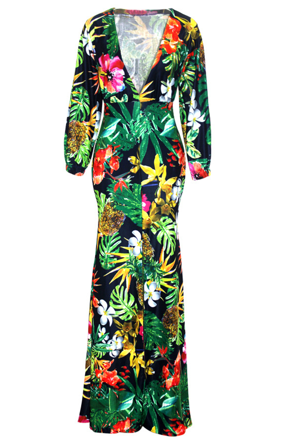Sexy deep v neck long sleeves digital printing healthy for Robes pour mariage tropical
