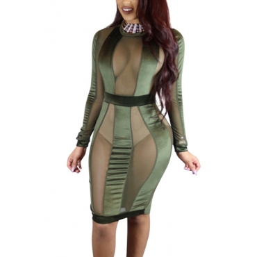 Sexy Round Neck Long Sleeves Gauze Patchwork Army Green Polyester Sheath Knee Length Dress