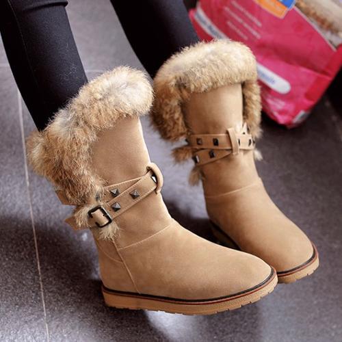 elegante do projeto rodada toe pele lisa salto baixo marrom PU botas curtas neve