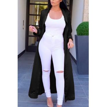 Trendy Turndown Collar Long Sleeves Black Satin Long Trench Coats