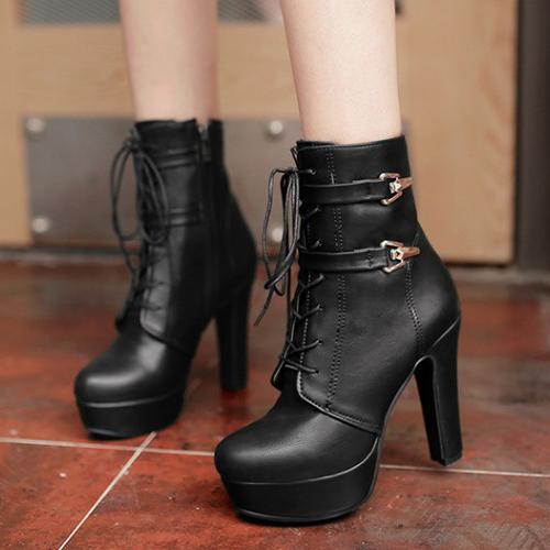 súper tacón negro botas cortas PU gruesos estilo punta redonda con cordones