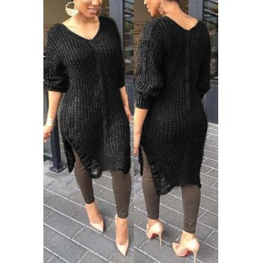 Euramerican V Neck Long Sleeves Asymmetrical Black Acrylic Knee Length Dress