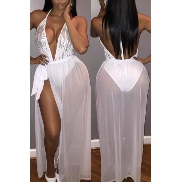 Sexy V Neck Tank Sleeveless Backless Sequin Embellished White Gauze Floor Length Dress