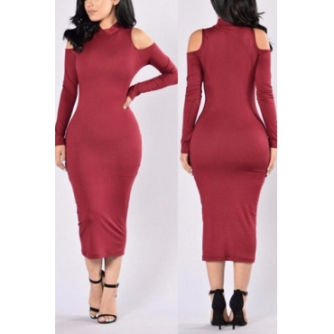 Euramerican Turtleneck Long Sleeves Hollow-out Wine Red Cotton Sheath Mid Calf Dress