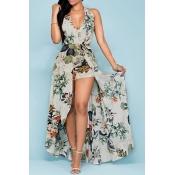 Очаровательная Холтер V шеи Backless цветочный принт абрикоса шифон пляж голеностопного Длина платья