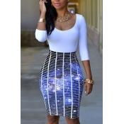 Стильный круглый шею три четверти рукава напечатаны лоскутное фиолетовый полиэстер оболочка платье длиной до колена