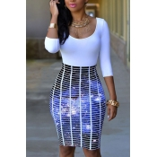 Stylish Round Neck Three Quarter Sleeves Printed Patchwork Purple Polyester Sheath Knee Length Dress