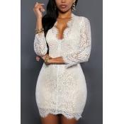 Sexy Deep V Neck Three Quarter Sleeves White Lace Mini Dress