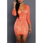 Sexy Deep V Neck Three Quarter Sleeves Orange Lace Mini Dress
