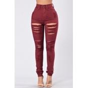 Trendy High Waist Broken Holes Red Denim Skinny Pants