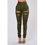 Trendy High Waist Broken Holes Green Denim Skinny Pants