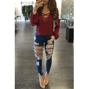 Stylish V Neck Long Sleeves Lace-up Hollow-out Wine Red Cotton Tops