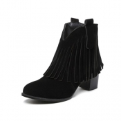 Stylish Round Toe Tassel Design Chunky High Heel Black Suede Ankle Boots