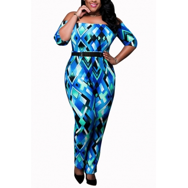 Stylish Strapless Short Sleeves Geometric Printed Polyester One-piece Jumpsuits(With Belt)