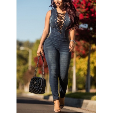Sexy Deep V Neck Sleeveless Hollow-out Black Polyester One-piece Skinny Jumpsuits