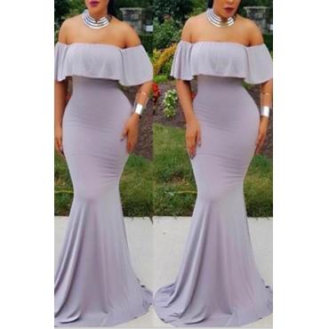 Charming Bateau Neck Off The Shoulder Short Sleeves Falbala Design Grey Qmilch Mermaid Floor length Dress