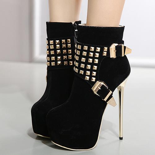 Stylish Round Toe Rivet Decorative Black Suede Short Boots