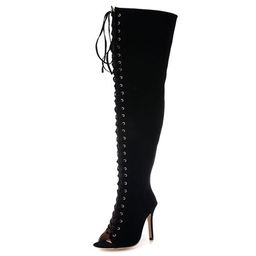 модный круглый Peep Toe на шнуровке полым из черной замши шпилек супер высокой пятки над ботинками колена