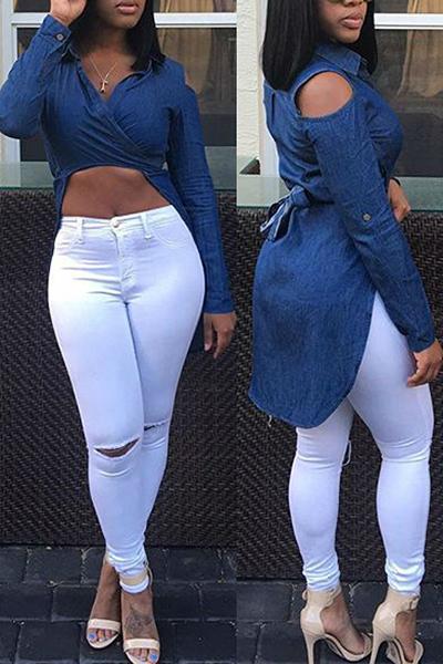cuello de descubierta atractiva mangas largas asimétricas camisas de mezclilla azul