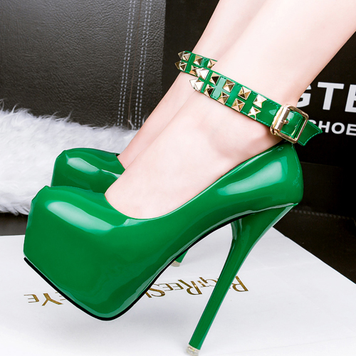 Stylish Round Closed Toe Rivet Decorative Stiletto Super High Heel Green PU Ankle Strap Pumps