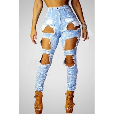 cintura alta furos quebrados à moda azul calças de ganga