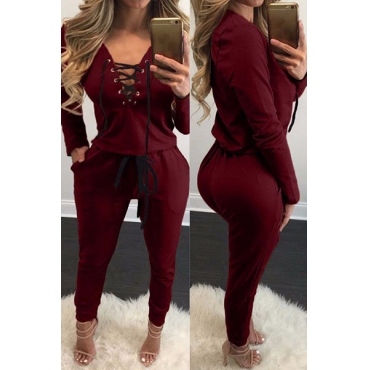 Euramerican V Neck Long Sleeves Lace-up Hollow-out Wine Red Qmilch Loose Jumpsuits