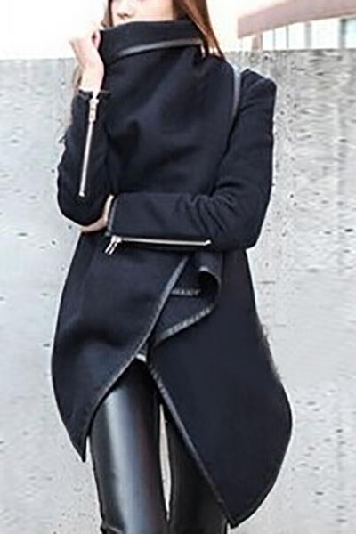 Trendy turndown collar long sleeves asymmetrical black woolen coat