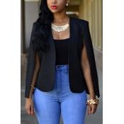 Euramerican Long Sleeves Cloak Design Black Polyester Suits