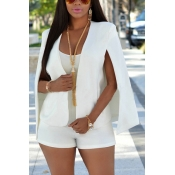Euramerican Long Sleeves Cloak Design White Polyester Suits