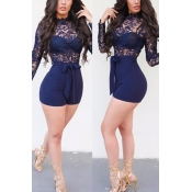 Sexy Mandarin Collar Long Sleeves See-Through Blue Bud Silk  One-piece Jumpsuits(Without Belt)