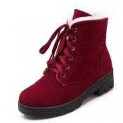 elegante rodada toe lace-up cunha meados de calcanhar de camurça vermelha Martin botas