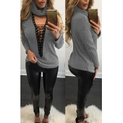 Sexy Round Neck Long Sleeves Hollow-out Grey Cotton Sweater