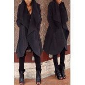 Trendy Turndown Collar Long Sleeves Black Cotton Long Wool Coat