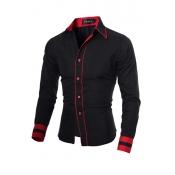 Stylish Turndown Collar Long Sleeves Patchwork Black Cotton Men Clothes