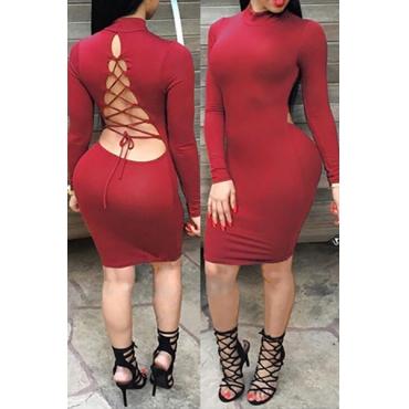 сексуальный мандарин воротник длинные рукава обратно на шнуровке полым из красного хлопка смесь оболочки платье длиной до колена