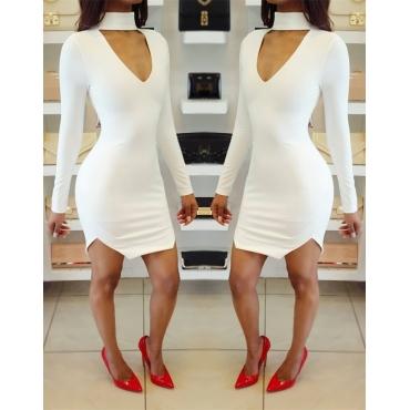 Sexy V Neck Long Sleeves White Cotton Sheath Mini Dress