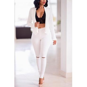 Stylish Turndown Collar Long Sleeves Broken Holes White Twilled Satin Two-piece Pants Set