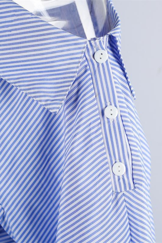 Stylish Inclined Shoulder Design Striped Blue Blending Mini Dress
