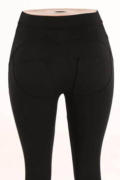 Stylish Mid Waist Polyester Patchwork Black Polyester Leggings