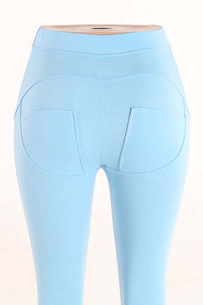Meia cintura poliéster retalhos azul poliéster leggings