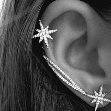 Euramerican Snowflake Rhinestone Decorative Silver Crystal Earring