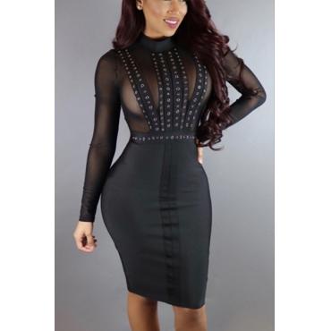 Sexy Turtleneck Long Sleeves Net Yarn Splicing Black Sheath Knee Length Dress